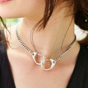 free people silver choker necklace hand cuffs